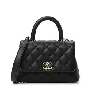 {CHANEL} Caviar Quilted Extra Mini Coco Handle Bag